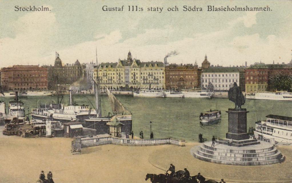Före Stockholms Undergång  Gustav_III_staty_och_Södra_Blasieholmshamnen